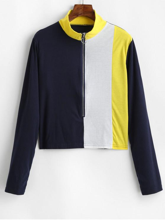 unique Pull Ring Zip Colorblock Ribbed High Neck Tee - BLUE XL