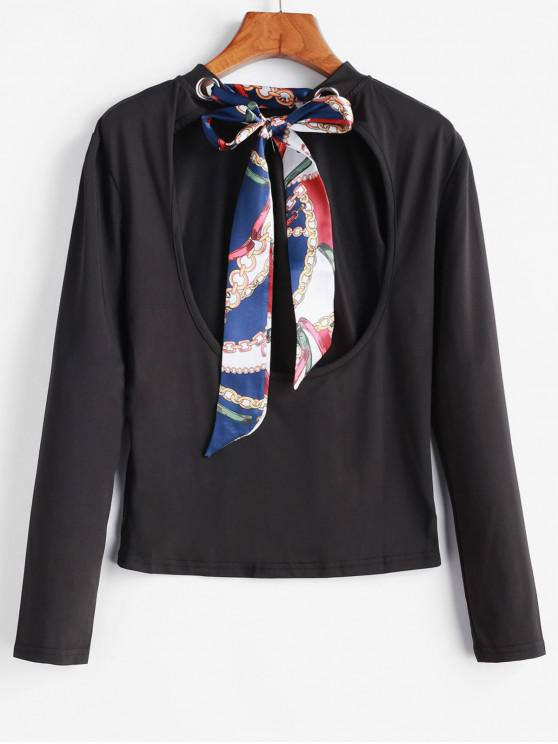 affordable Scarf Print Knotted Cut Out Slim Tee - BLACK S