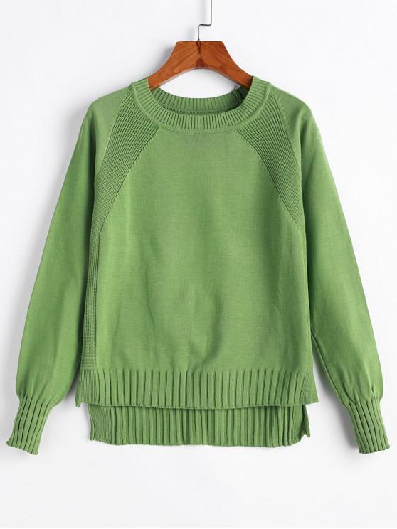 Paso Hem hendidura del raglán de la manga del suéter Alta Baja - Verde claro Talla única