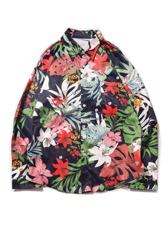 fancy Tropical Flower Leaf Print Chest Pocket Vacation Shirt - DEEP BLUE M