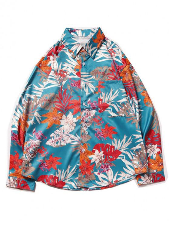 ladies Tropical Flower Leaf Print Chest Pocket Vacation Shirt - LIGHT BLUE M