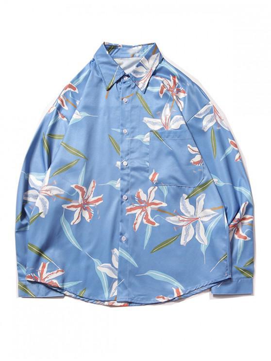 online Chest Pocket Flower Plant Print Curved Hem Shirt - LIGHT BLUE M