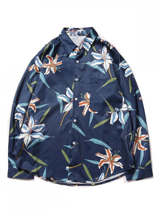 latest Chest Pocket Flower Plant Print Curved Hem Shirt - DEEP BLUE L