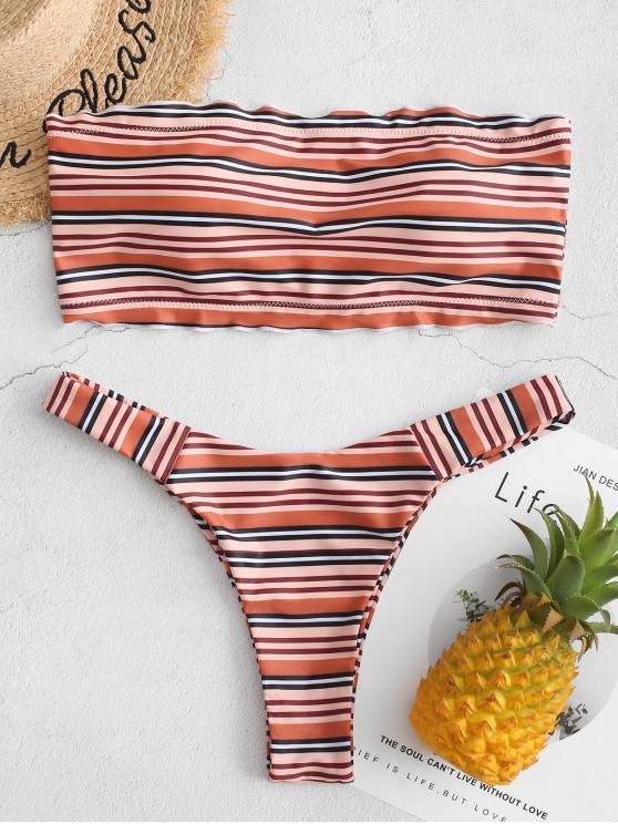 ZAFUL Multi rayas Lechuga Recorte alta de la pierna de baño bikini - Tigre Anaranjado L
