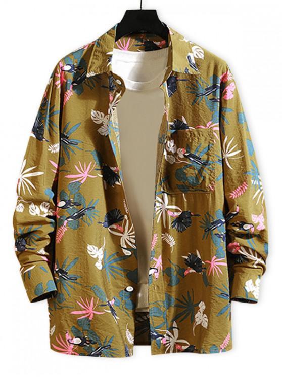 women Tropical Plant Parrot Print Pocket Beach Vacation Shirt - YELLOW 3XL