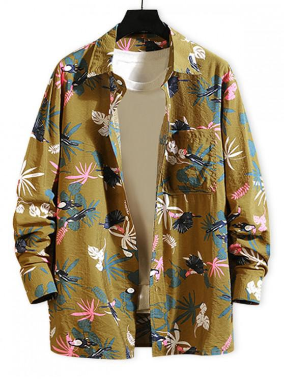 latest Tropical Plant Parrot Print Pocket Beach Vacation Shirt - YELLOW L