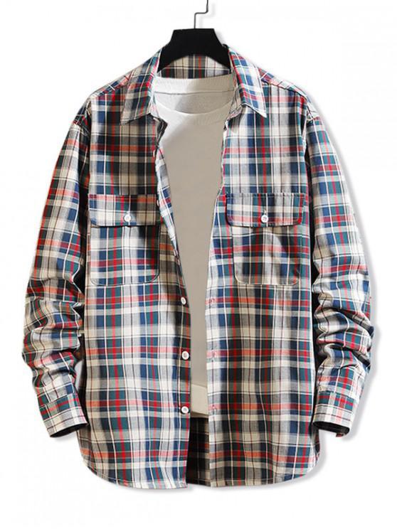 new Plaid Print Chest Pocket Long Sleeve Button Up Shirt - RED 4XL