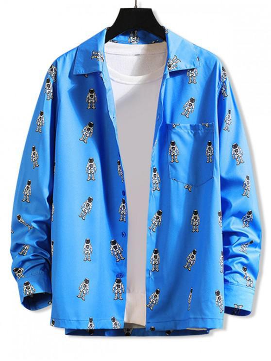 trendy Astronaut Pattern Print Pocket Long Sleeve Button Shirt - COBALT BLUE 4XL