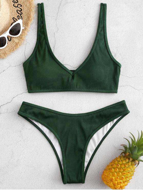 latest ZAFUL Textured Ribbed Bikini Swimsuit - DEEP GREEN L