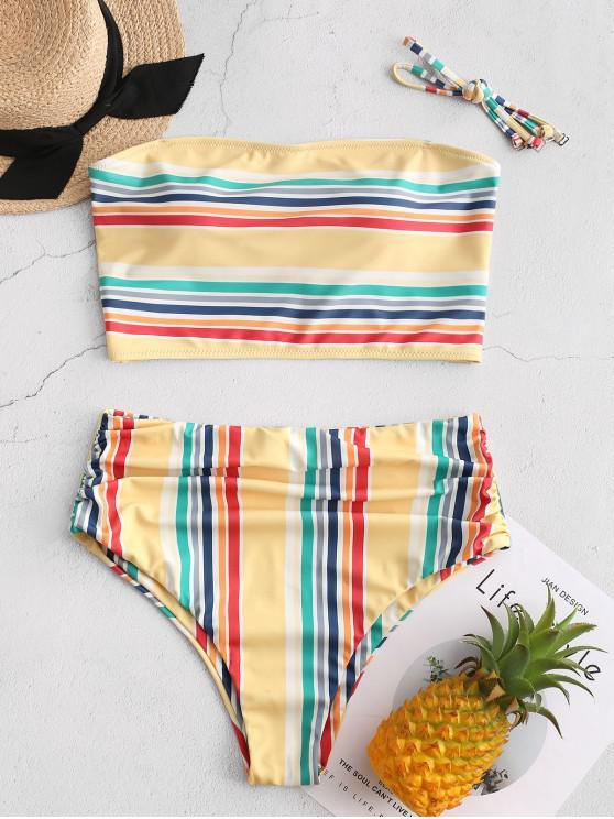 womens ZAFUL Colorful Striped Ruched Bandeau Tankini Swimsuit - MULTI-A M