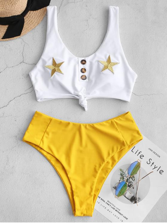 fancy ZAFUL Star Patch Mock Button High Cut Tankini Swimsuit - MUSTARD XL