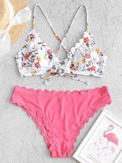 ZAFUL Floral Lace-up Scalloped Bikini Swimsuit - Pink S