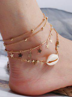 3Pcs Star Shell Layers Charm Anklet Set - Gold