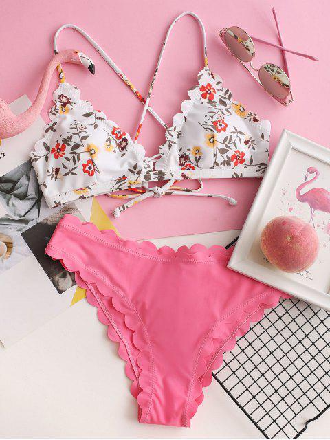 ZAFUL Biquíni Scalloped Lace-up Floral - Rosa M Mobile
