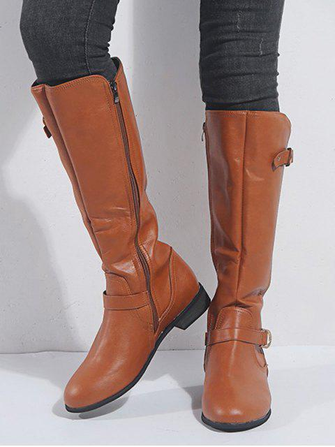 new Double Buckle PU Low Heel Knee High Boots - BROWN EU 39 Mobile