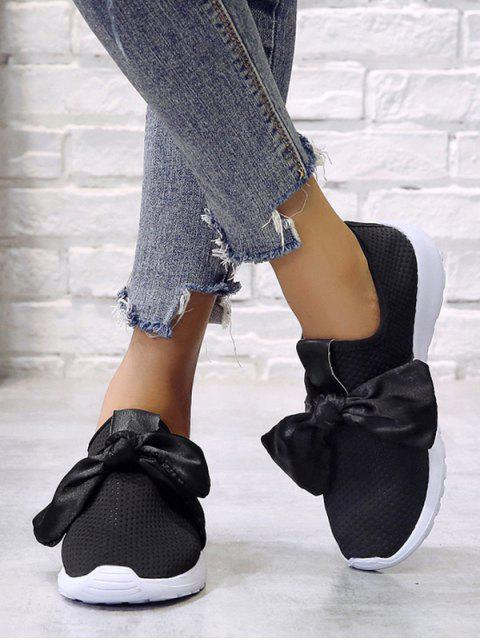 hot Ribbon Bow Perforated Slip On Sport Shoes - BLACK EU 43 Mobile