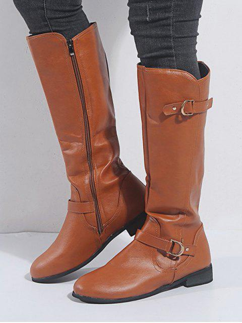 new Double Buckle Leather Knee High Knight Boots - BROWN EU 42 Mobile