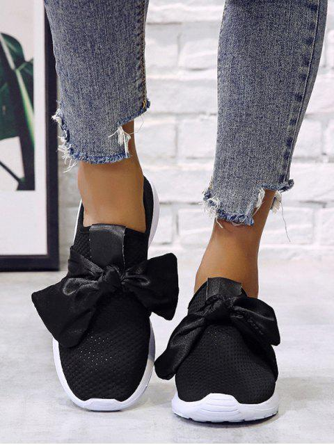 affordable Ribbon Bow Perforated Slip On Sport Shoes - BLACK EU 35 Mobile