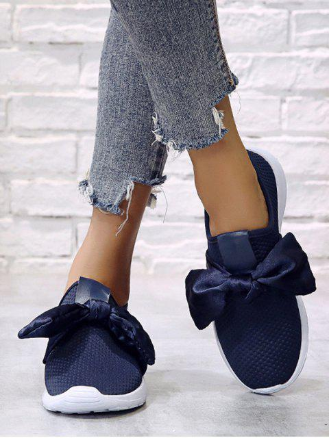 womens Ribbon Bow Perforated Slip On Sport Shoes - DEEP BLUE EU 38 Mobile