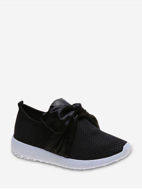 shop Ribbon Bow Perforated Slip On Sport Shoes - BLACK EU 40 Mobile