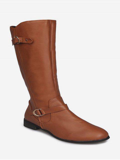 online Double Buckle PU Low Heel Knee High Boots - BROWN EU 36 Mobile