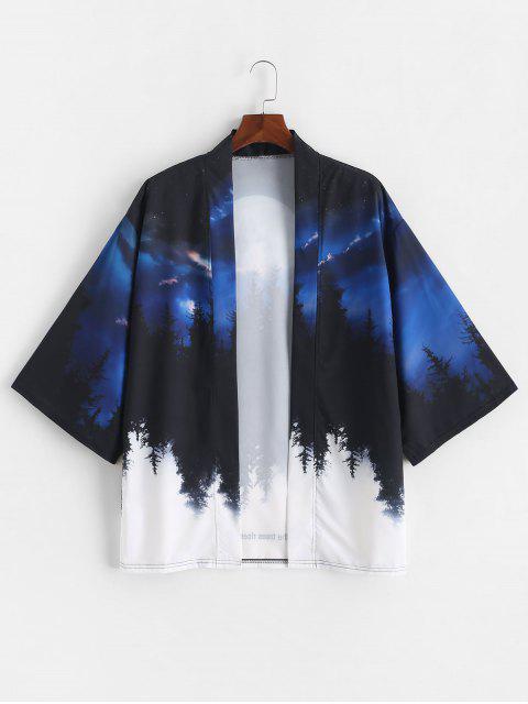 shops Rising Moon Through Tree Forest Print Open Front Kimono Cardigan - COBALT BLUE 3XL Mobile