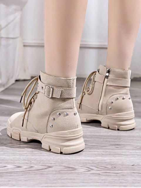 outfit Lace Up Ankle Boot with Studs - BEIGE EU 39 Mobile