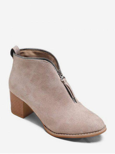 outfits Zip Trim Stacked Heel Ankle Boots - APRICOT EU 41 Mobile