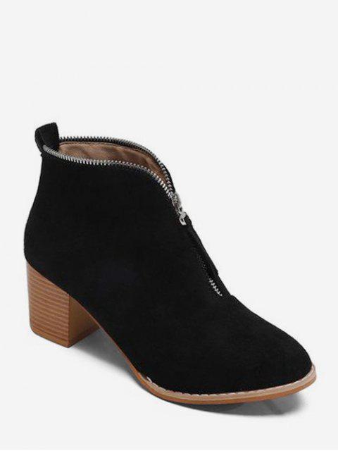 trendy Zip Trim Stacked Heel Ankle Boots - BLACK EU 40 Mobile