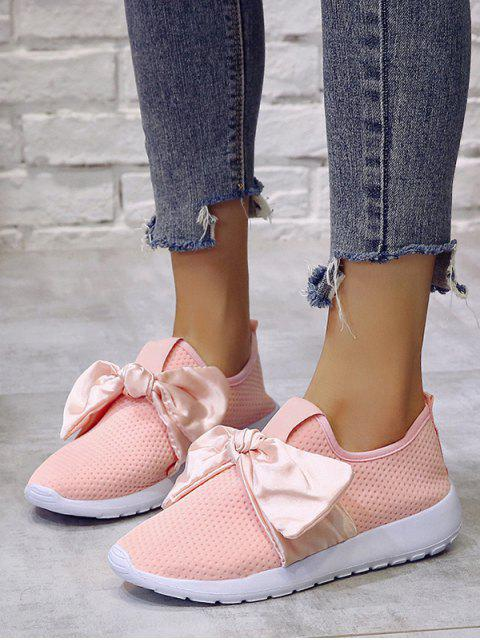 online Ribbon Bow Perforated Slip On Sport Shoes - PINK EU 37 Mobile