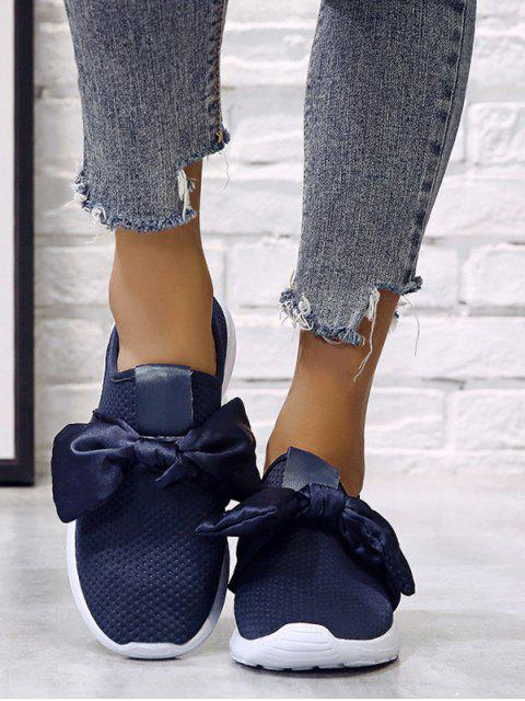unique Ribbon Bow Perforated Slip On Sport Shoes - DEEP BLUE EU 37 Mobile