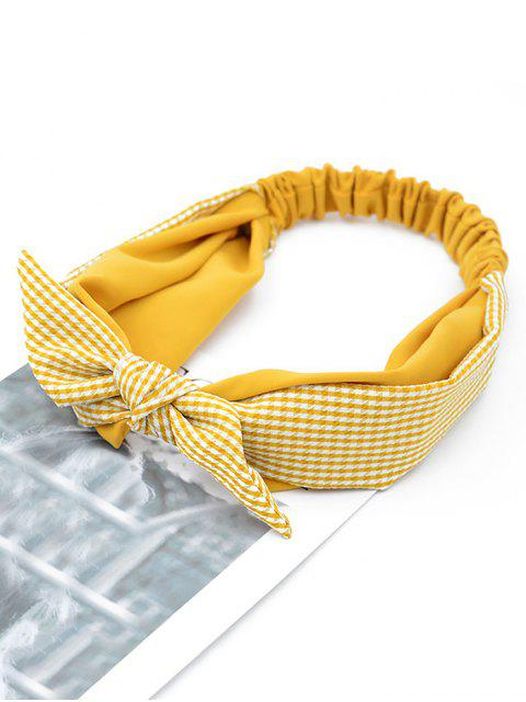 ladies Bowknot Plaid Elastic Double Layer Headband - YELLOW  Mobile