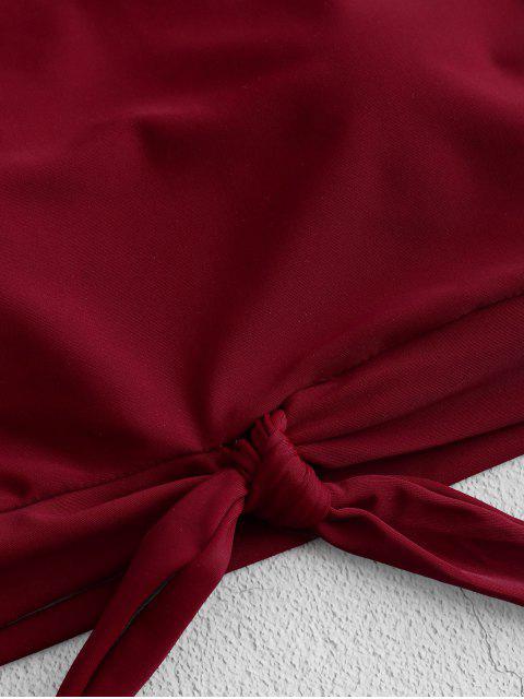 Bañador Tankini fruncido con nudo y estampado dálmata ZAFUL - Rojo S Mobile