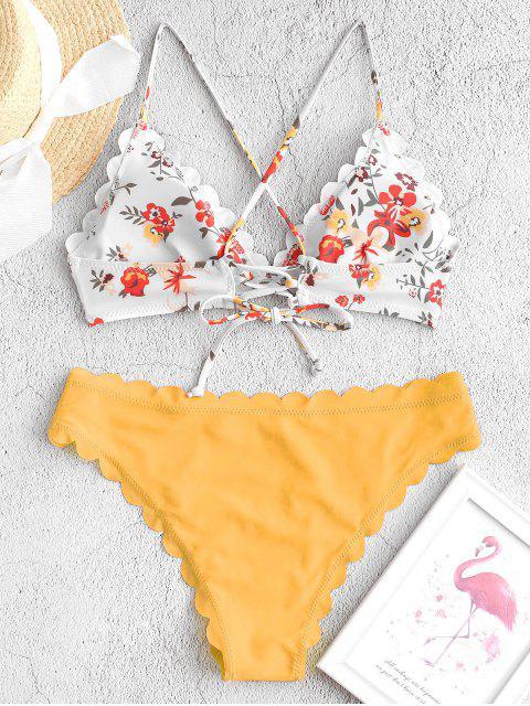 ZAFUL花朵繫帶扇形比基尼泳裝 - 橡膠Ducky黃色 S Mobile