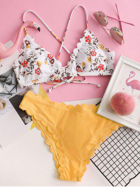 ZAFUL Maillot de Bain Bikini Festonné Fleuri à Lacets - Jaune Canard Caoutchouc M Mobile