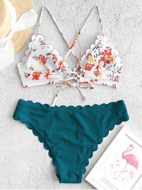 ZAFUL Maillot de Bain Bikini Festonné Fleuri à Lacets - Paon Bleu S Mobile