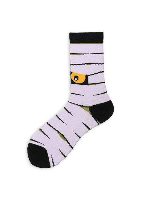 new Asymmetric Halloween Crew Length Socks - WHITE  Mobile
