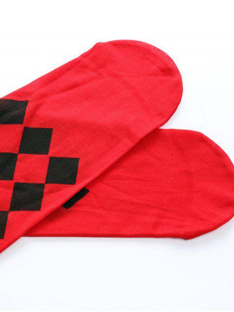 women Halloween Ghost Rhombus Poker Over Knee Socks - VALENTINE RED  Mobile
