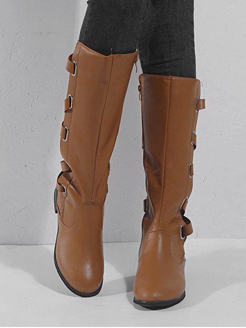 shop Back Crisscross PU Knee High Boots - LIGHT BROWN EU 37 Mobile
