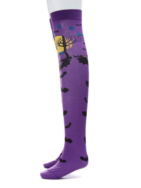 affordable Halloween Bat Over Knee Length Socks - PURPLE  Mobile