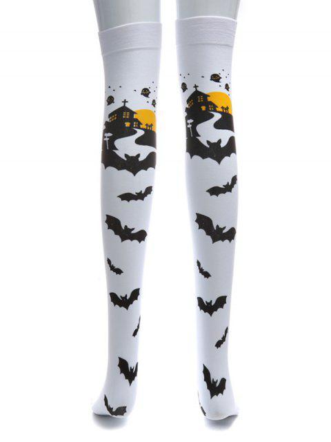 Palo de Halloween sobre los calcetines hasta la rodilla - Blanco  Mobile