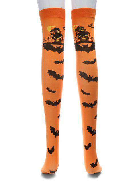 women Halloween Bat Over Knee Length Socks - ORANGE SALMON  Mobile