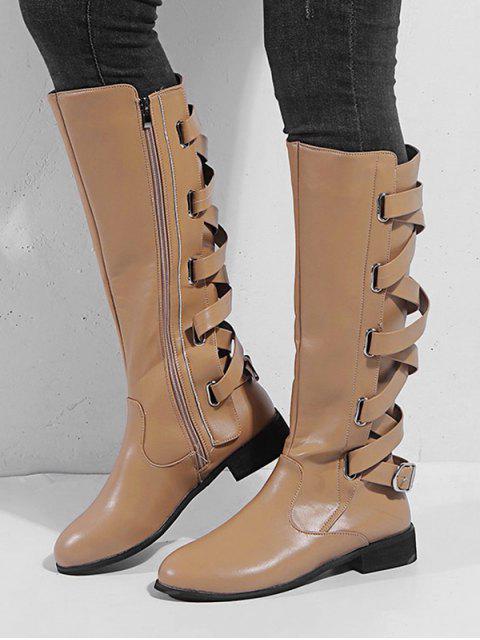 lady Back Crisscross PU Knee High Boots - APRICOT EU 38 Mobile
