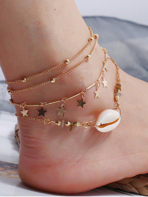 ladies 3Pcs Star Shell Layers Charm Anklet Set - GOLD  Mobile