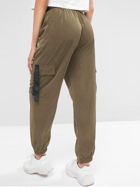 Pantalones jogger sólidos con cinturón y hebillas ZAFUL - Caqui Oscuro L Mobile