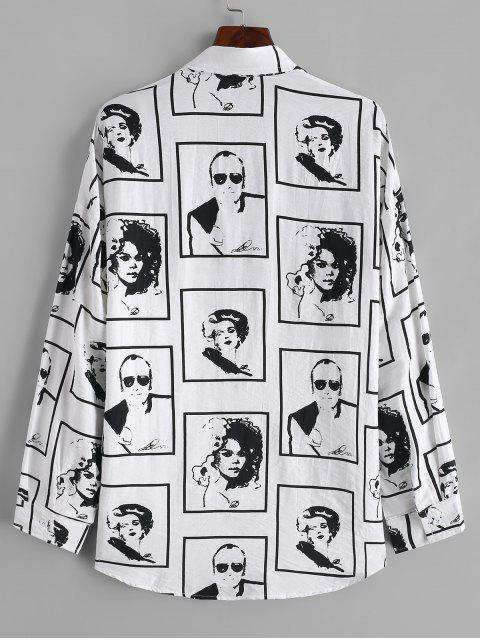 outfit Character Graphic Print Curved Hem Button Shirt - WHITE M Mobile