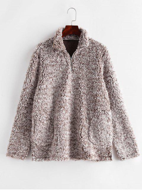 Sudadera mullida de peluche con bolsillo de cuello alto y bolsillo de cremallera ZAFUL - Multicolor M Mobile