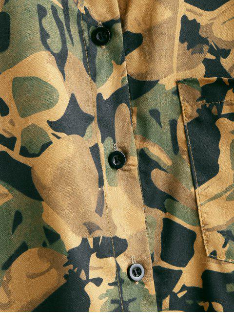 sale Button Up Camouflage Chest Pocket Shirt - BEE YELLOW ONE SIZE Mobile