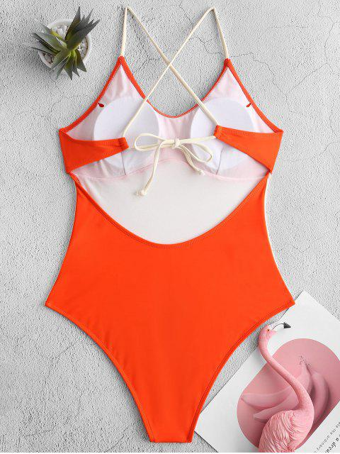 women ZAFUL Two Tone Crisscross One-piece Swimsuit - ORANGE M Mobile