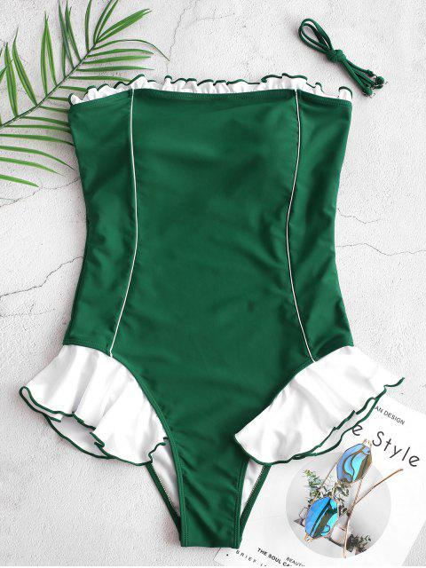 best ZAFUL Contrast Ruffle Piping Bandeau One-piece Swimsuit - MEDIUM SEA GREEN M Mobile